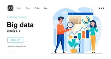 Big Data analysis web concept landing page template vector