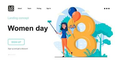 Women day web concept landing page template vector