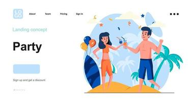 Party web concept landing page template vector