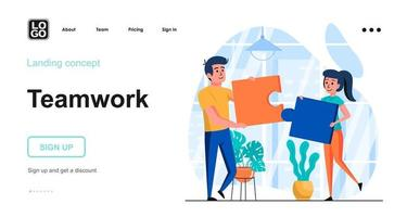 Teamwork web concept landing page template vector