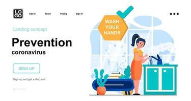 Prevention coronavirus web concept landing page template vector