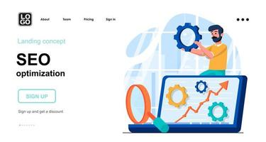 Seo optimization web concept landing page template vector