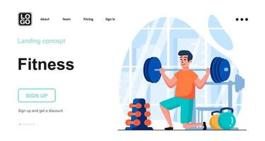 Fitness web concept landing page template vector