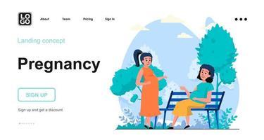 Pregnancy web concept landing page template vector