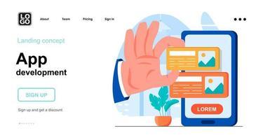 App development web concept landing page template vector
