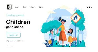 los niños van a la escuela plantilla de página de destino del concepto web vector