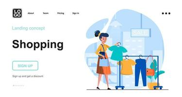 Shopping web concept landing page template vector