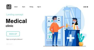 Medical clinic web concept landing page template vector