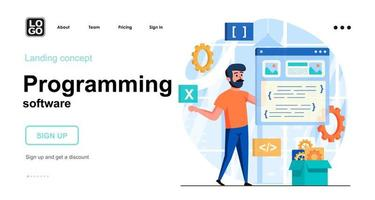 Programming software web concept landing page template vector