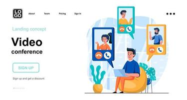 Video conference web concept landing page template vector