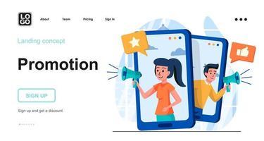 Promotion web concept landing page template vector