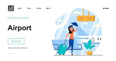 Airport web concept landing page template vector