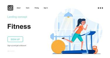 Fitness training web concept landing page template vector