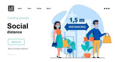 Social distance web concept landing page template vector