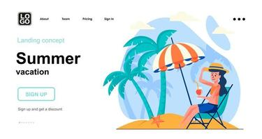 Summer vacation web concept landing page template vector