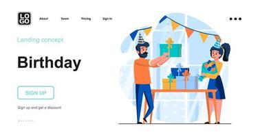Birthday web concept landing page template vector