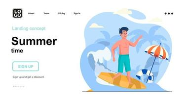 Summer time web concept landing page template vector