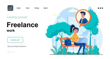 Freelance work web concept landing page template vector