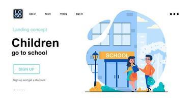 Children go to school web concept landing page template vector