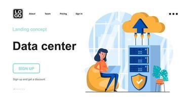 Data center web concept landing page template vector