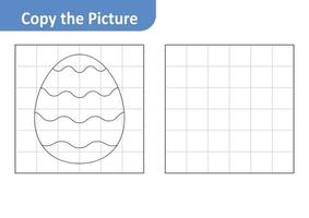Copy the picture worksheet for kids, easter egg vector