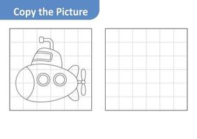 Copy the picture worksheet for kids, submarine vector