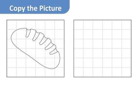 Copy the picture worksheet for kids, bread vector
