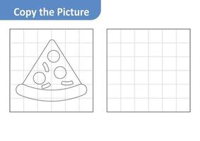 Copy the picture worksheet for kids, pizza vector