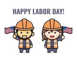 Cute miner celebrate labor day cartoon  illustration vector