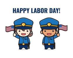 Cute police celebrate labor day cartoon  illustration vector
