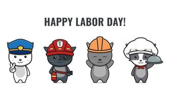 Set of cute cat celebrate labor day cartoon icon vector illustration