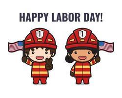 lindo bombero celebrar el día del trabajo ilustración de dibujos animados vector