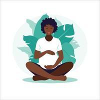 Concept pregnancy, motherhood, yoga, meditation and health care. vector
