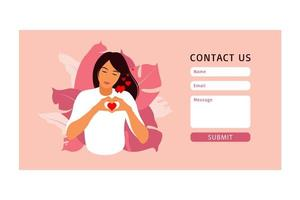Contact us form template for web and Landing page. vector