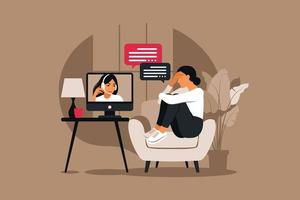 Online therapy and counselling under stress and depression. vector