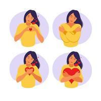 Self care and body positive concept. Feminism, girl power concept. vector