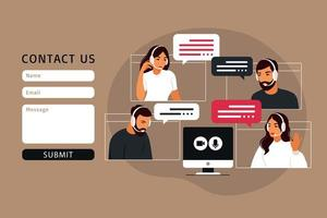 Contact us form template for web. Video meeting of people group. vector