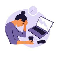 Professional burnout syndrome. Mental health problems. vector