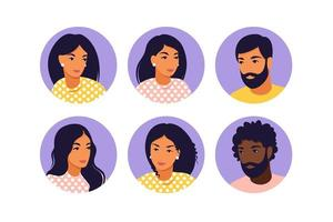 Avatar young men and women in flat style. Flat style vector icons set.