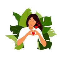Self-love concept. Young girl making hand heart symbol. vector