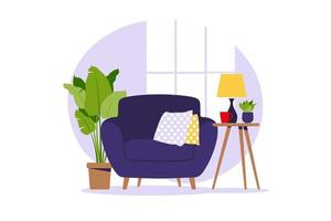 Modern armchair with mini table. Interior of the living room. vector
