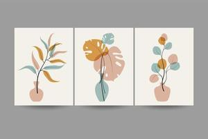 Set of compositions with leaves. vector
