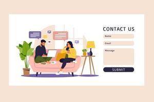 formulario de contacto. freelance, educación en línea o concepto de redes sociales. vector