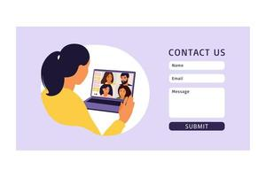 Contact us form. Virtual meeting and group video conference. vector