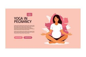 Pregnant woman doing prenatal yoga. Landing page template. vector