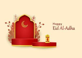 3D islamic decoration background with mosque arabic lantern vector