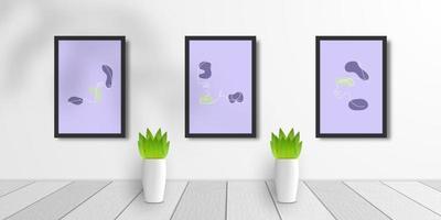 set of 3D realistic frame mock up vector