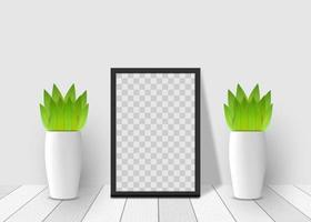 3D realistic square frame mockup vector