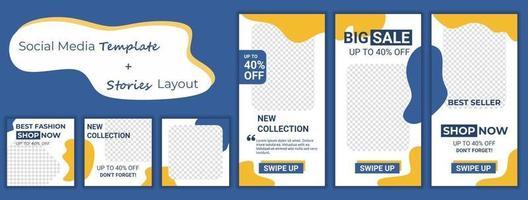 conjunto de plantillas editables de moda para redes sociales vector
