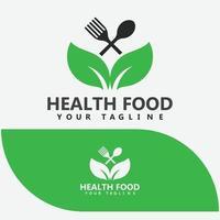 Leaf with Spoon  Fork, Healthy Food, Restaurant Logo Design vector